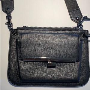 BOTKIER small flat crossbody, black pebble leather
